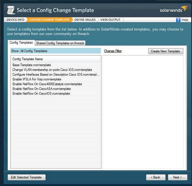 Network Config Generator Template Selection Screen