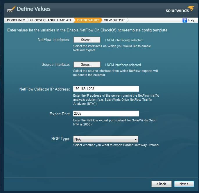Network Config Generator NetFlow Configuration Options