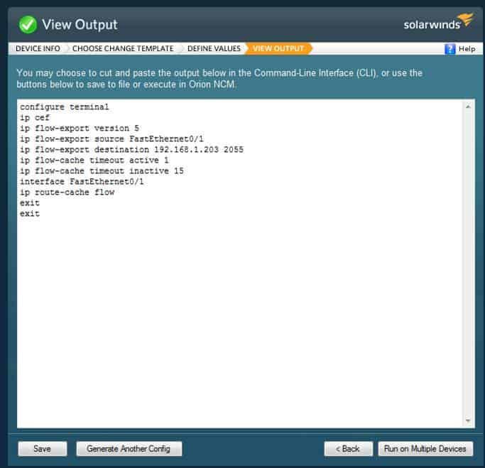 Network Config Generator Config Output
