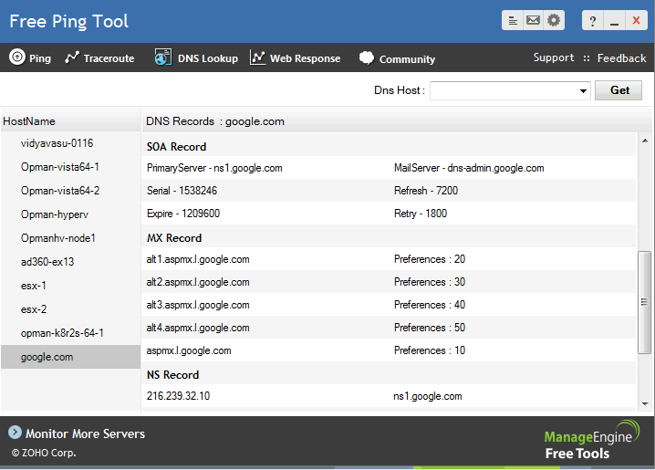ManageEngine Free Ping Tool